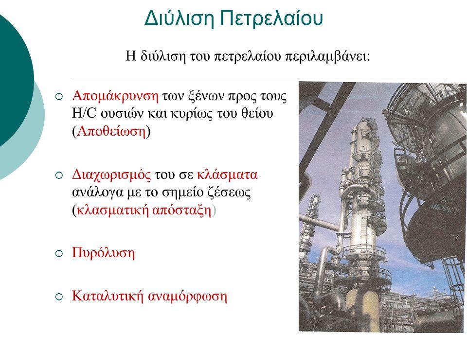 Διύλιση Πετρελαίου  Απομάκρυνση των ξένων προς τους Η/C ουσιών και κυρίως του θείου (Αποθείωση)  Διαχωρισμός του σε κλάσματα ανάλογα με το σημείο ζέσεως (κλασματική απόσταξη)  Πυρόλυση  Καταλυτική αναμόρφωση Η διύλιση του πετρελαίου περιλαμβάνει:
