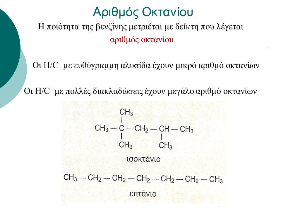 Αριθμός Οκτανίου Η ποιότητα της βενζίνης μετριέται με δείκτη που λέγεται αριθμός οκτανίου Οι Η/C με ευθύγραμμη αλυσίδα έχουν μικρό αριθμό οκτανίων Οι Η/C με πολλές διακλαδώσεις έχουν μεγάλο αριθμό οκτανίων