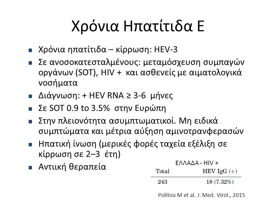 Χρόνια Ηπατίτιδα Ε Χρόνια ηπατίτιδα – κίρρωση: HEV-3 Σε ανοσοκατεσταλμένους: μεταμόσχευση συμπαγών οργάνων (SOT), ΗIV + και ασθενείς με αιματολογικά ν