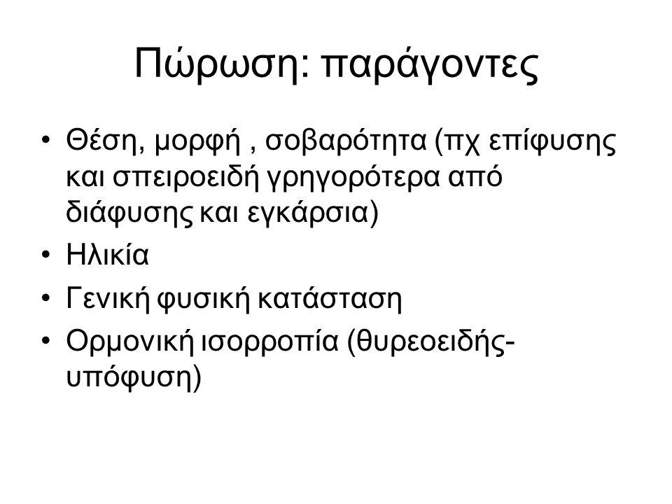 Πώρωση: παράγοντες Θέση, μορφή, σοβαρότητα (πχ επίφυσης και σπειροειδή γρηγορότερα από διάφυσης και εγκάρσια) Ηλικία Γενική φυσική κατάσταση Ορμονική ισορροπία (θυρεοειδής- υπόφυση)