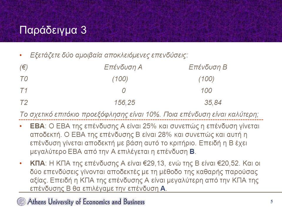 5 Παράδειγμα 3 Εξετάζετε δύο αμοιβαία αποκλειόμενες επενδύσεις: (€)Επένδυση ΑΕπένδυση Β Τ0 (100) (100) Τ1 0 100 Τ2 156,25 35,84 Το σχετικό επιτόκιο προεξόφλησης είναι 10%.