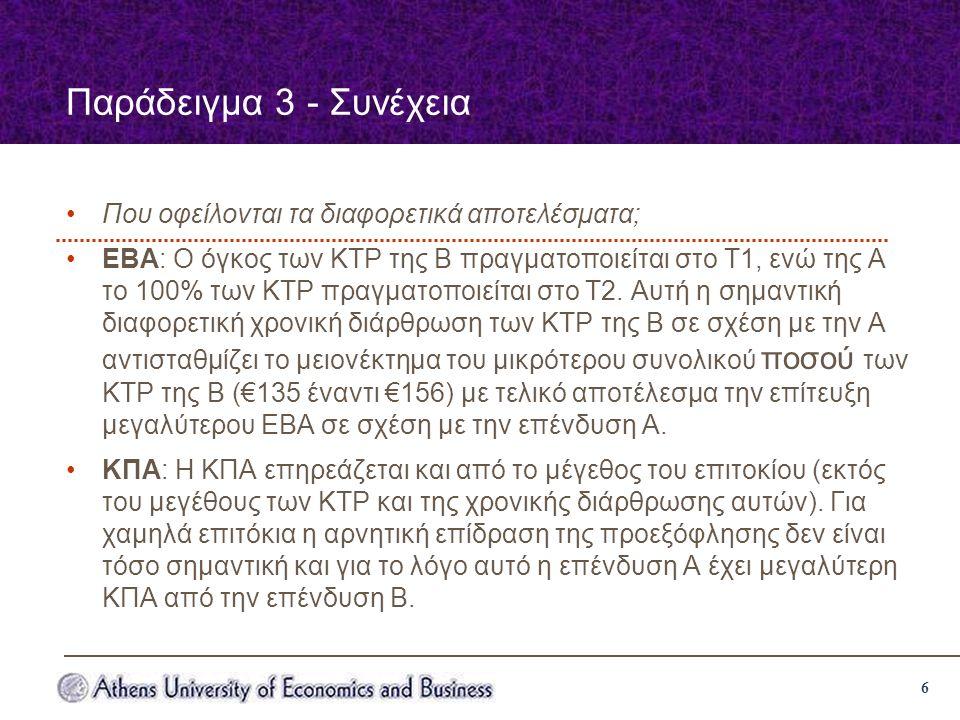 6 Παράδειγμα 3 - Συνέχεια Που οφείλονται τα διαφορετικά αποτελέσματα; ΕΒΑ: Ο όγκος των ΚΤΡ της Β πραγματοποιείται στο Τ1, ενώ της Α το 100% των ΚΤΡ πραγματοποιείται στο Τ2.