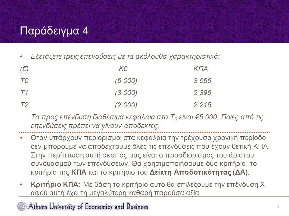 7 Παράδειγμα 4 Εξετάζετε τρεις επενδύσεις με τα ακόλουθα χαρακτηριστικά: (€) Κ0ΚΠΑ Τ0 (5.000)3.565 Τ1 (3.000)2.395 Τ2 (2.000)2.215 Τα προς επένδυση διαθέσιμα κεφάλαια στο Τ 0 είναι €5.000.