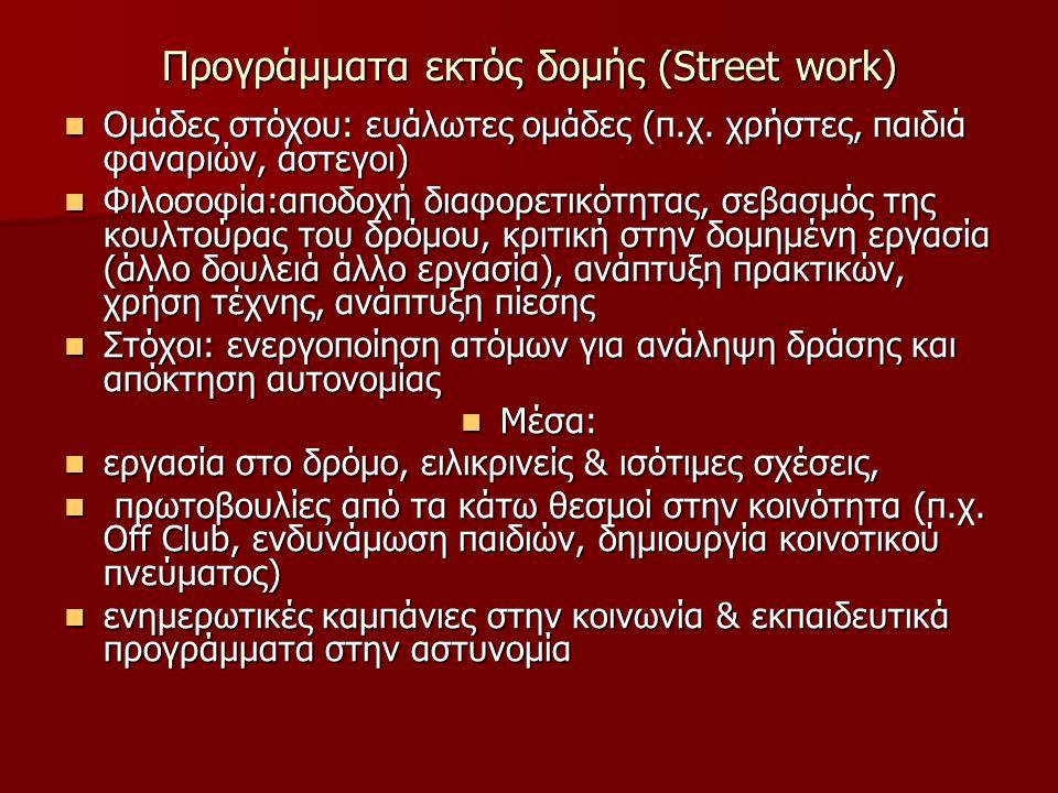 Προγράμματα εκτός δομής (Street work) Ομάδες στόχου: ευάλωτες ομάδες (π.χ.