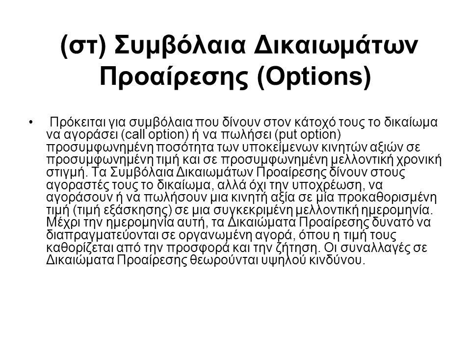 (στ) Συμβόλαια Δικαιωμάτων Προαίρεσης (Options) Πρόκειται για συμβόλαια που δίνουν στον κάτοχό τους το δικαίωμα να αγοράσει (call option) ή να πωλήσει
