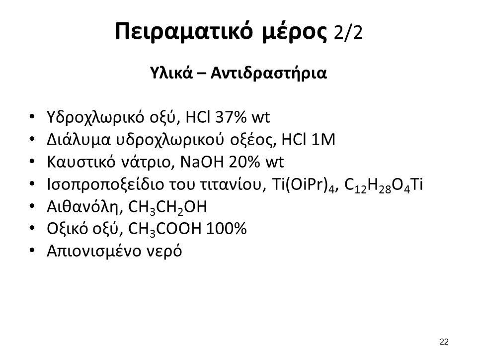 Πειραματικό μέρος 2/2 Υλικά – Αντιδραστήρια Υδροχλωρικό οξύ, HCl 37% wt Διάλυμα υδροχλωρικού οξέος, HCl 1Μ Καυστικό νάτριο, NaOH 20% wt Ισοπροποξείδιο