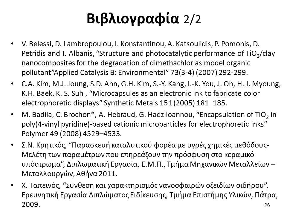 """Βιβλιογραφία 2/2 V. Belessi, D. Lambropoulou, I. Konstantinou, A. Katsoulidis, P. Pomonis, D. Petridis and T. Albanis, """"Structure and photocatalytic p"""