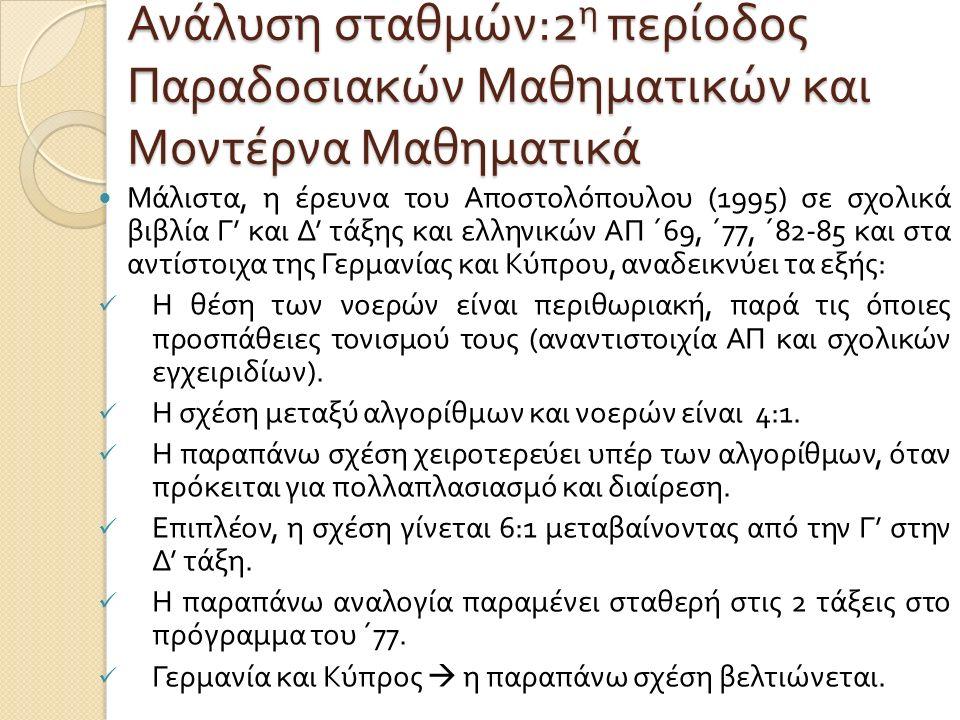 Ανάλυση σταθμών :2 η περίοδος Παραδοσιακών Μαθηματικών και Μοντέρνα Μαθηματικά Μάλιστα, η έρευνα του Αποστολόπουλου (1995) σε σχολικά βιβλία Γ ' και Δ ' τάξης και ελληνικών ΑΠ ΄ 69, ΄ 77, ΄ 82-85 και στα αντίστοιχα της Γερμανίας και Κύπρου, αναδεικνύει τα εξής : Η θέση των νοερών είναι περιθωριακή, παρά τις όποιες προσπάθειες τονισμού τους ( αναντιστοιχία ΑΠ και σχολικών εγχειριδίων ).