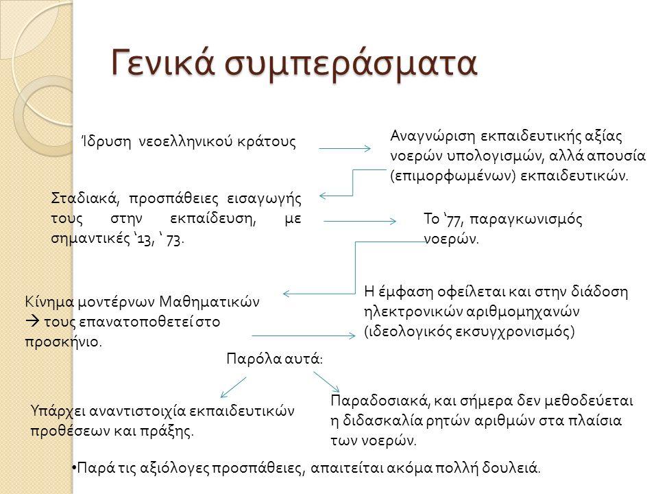 Γενικά συμπεράσματα Ίδρυση νεοελληνικού κράτους Αναγνώριση εκπαιδευτικής αξίας νοερών υπολογισμών, αλλά απουσία ( επιμορφωμένων ) εκπαιδευτικών.