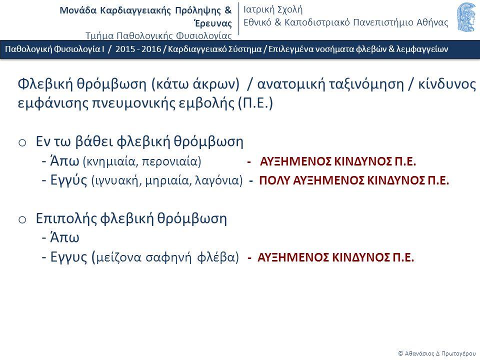 Μονάδα Καρδιαγγειακής Πρόληψης & Έρευνας Τμήμα Παθολογικής Φυσιολογίας Ιατρική Σχολή Εθνικό & Καποδιστριακό Πανεπιστήμιο Αθήνας © Αθανάσιος Δ Πρωτογέρου Φλεβική θρόμβωση (κάτω άκρων) / ανατομική ταξινόμηση / κίνδυνος εμφάνισης πνευμονικής εμβολής (Π.Ε.) o Εν τω βάθει φλεβική θρόμβωση - Άπω (κνημιαία, περονιαία) - ΑΥΞΗΜΕΝΟΣ ΚΙΝΔΥΝΟΣ Π.Ε.