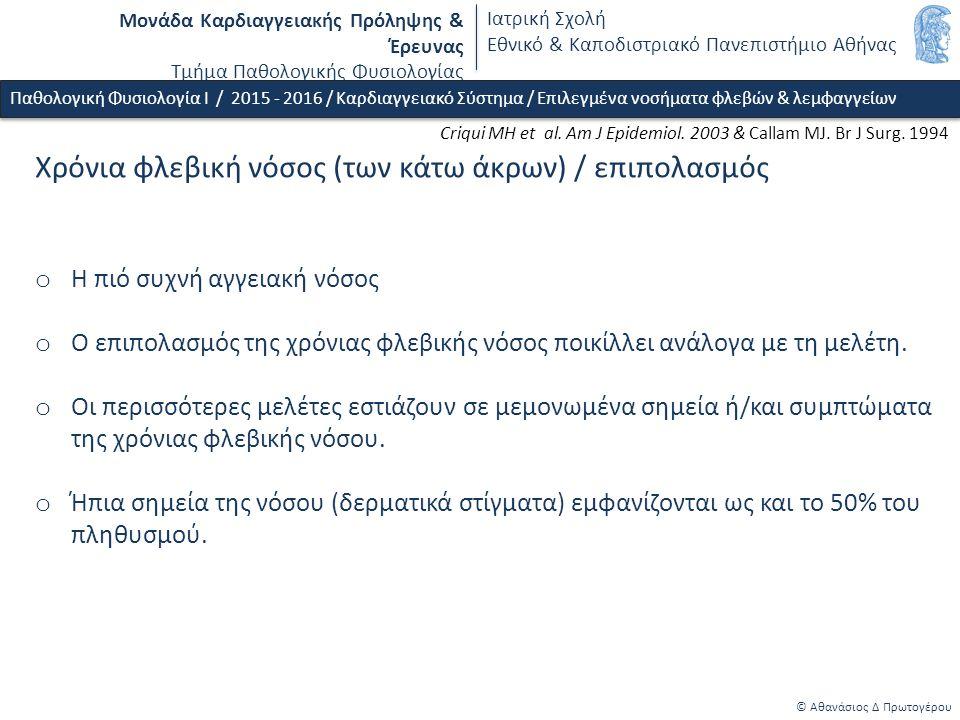 Μονάδα Καρδιαγγειακής Πρόληψης & Έρευνας Τμήμα Παθολογικής Φυσιολογίας Ιατρική Σχολή Εθνικό & Καποδιστριακό Πανεπιστήμιο Αθήνας © Αθανάσιος Δ Πρωτογέρου (Διάμεσο-interstitial) οίδημα (κάτω άκρων) / ταξινόμηση με βάση τους παθοφυσιολογικούς μηχανισμούς o Αύξηση πίεσης στα τριχοειδή - Καρδιακής αιτιολογίας (συμφορητική καρδιακή ανεπάρκεια) - Φλεβικής αιτιολογίας (φλεβική ανεπάρκεια ή/και απόφραξη) - Αρτηριδιακή διαστολή (φαρμακευτική, π.χ.