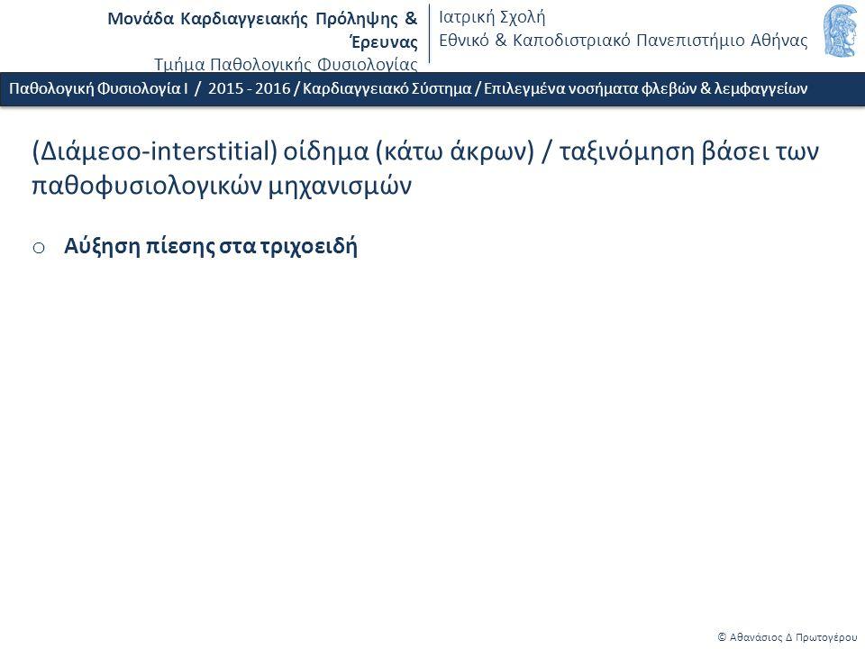 Μονάδα Καρδιαγγειακής Πρόληψης & Έρευνας Τμήμα Παθολογικής Φυσιολογίας Ιατρική Σχολή Εθνικό & Καποδιστριακό Πανεπιστήμιο Αθήνας © Αθανάσιος Δ Πρωτογέρου (Διάμεσο-interstitial) οίδημα (κάτω άκρων) / ταξινόμηση βάσει των παθοφυσιολογικών μηχανισμών o Αύξηση πίεσης στα τριχοειδή Παθολογική Φυσιολογία Ι / 2015 - 2016 / Καρδιαγγειακό Σύστημα / Επιλεγμένα νοσήματα φλεβών & λεμφαγγείων