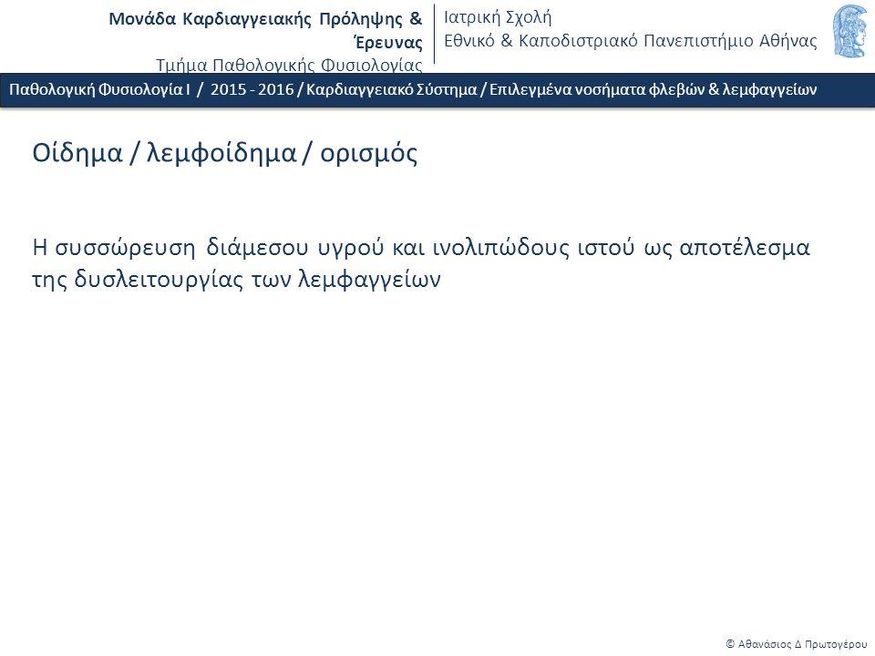 Μονάδα Καρδιαγγειακής Πρόληψης & Έρευνας Τμήμα Παθολογικής Φυσιολογίας Ιατρική Σχολή Εθνικό & Καποδιστριακό Πανεπιστήμιο Αθήνας © Αθανάσιος Δ Πρωτογέρου Οίδημα / λεμφοίδημα / ορισμός Η συσσώρευση διάμεσου υγρού και ινολιπώδους ιστού ως αποτέλεσμα της δυσλειτουργίας των λεμφαγγείων Παθολογική Φυσιολογία Ι / 2015 - 2016 / Καρδιαγγειακό Σύστημα / Επιλεγμένα νοσήματα φλεβών & λεμφαγγείων