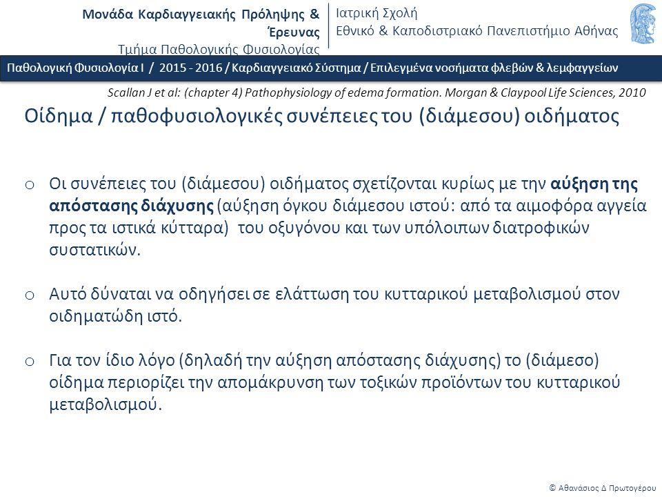 Μονάδα Καρδιαγγειακής Πρόληψης & Έρευνας Τμήμα Παθολογικής Φυσιολογίας Ιατρική Σχολή Εθνικό & Καποδιστριακό Πανεπιστήμιο Αθήνας © Αθανάσιος Δ Πρωτογέρου Οίδημα / παθοφυσιολογικές συνέπειες του (διάμεσου) οιδήματος o Οι συνέπειες του (διάμεσου) οιδήματος σχετίζονται κυρίως με την αύξηση της απόστασης διάχυσης (αύξηση όγκου διάμεσου ιστού: από τα αιμοφόρα αγγεία προς τα ιστικά κύτταρα) του οξυγόνου και των υπόλοιπων διατροφικών συστατικών.