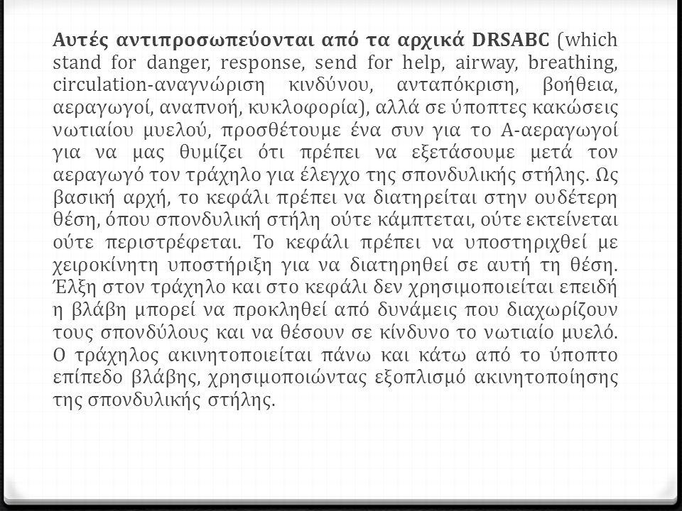 Αυτές αντιπροσωπεύονται από τα αρχικά DRSABC (which stand for danger, response, send for help, airway, breathing, circulation-αναγνώριση κινδύνου, αντ