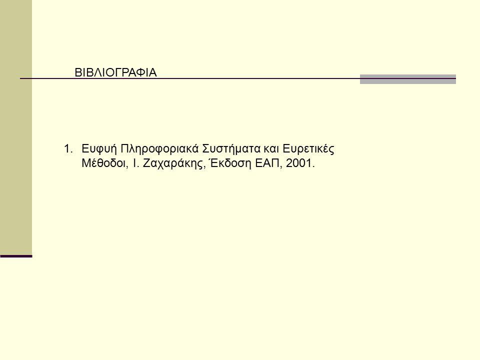 ΒΙΒΛΙΟΓΡΑΦΙΑ 1.Ευφυή Πληροφοριακά Συστήματα και Ευρετικές Μέθοδοι, Ι. Ζαχαράκης, Έκδοση ΕΑΠ, 2001.