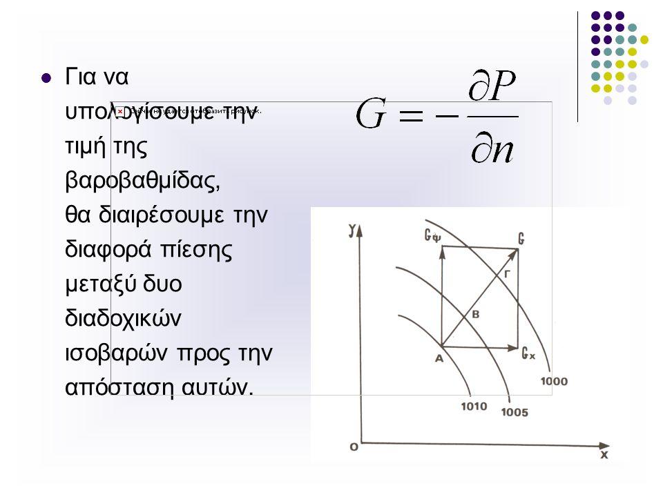 Για να υπολογίσουμε την τιμή της βαροβαθμίδας, θα διαιρέσουμε την διαφορά πίεσης μεταξύ δυο διαδοχικών ισοβαρών προς την απόσταση αυτών.