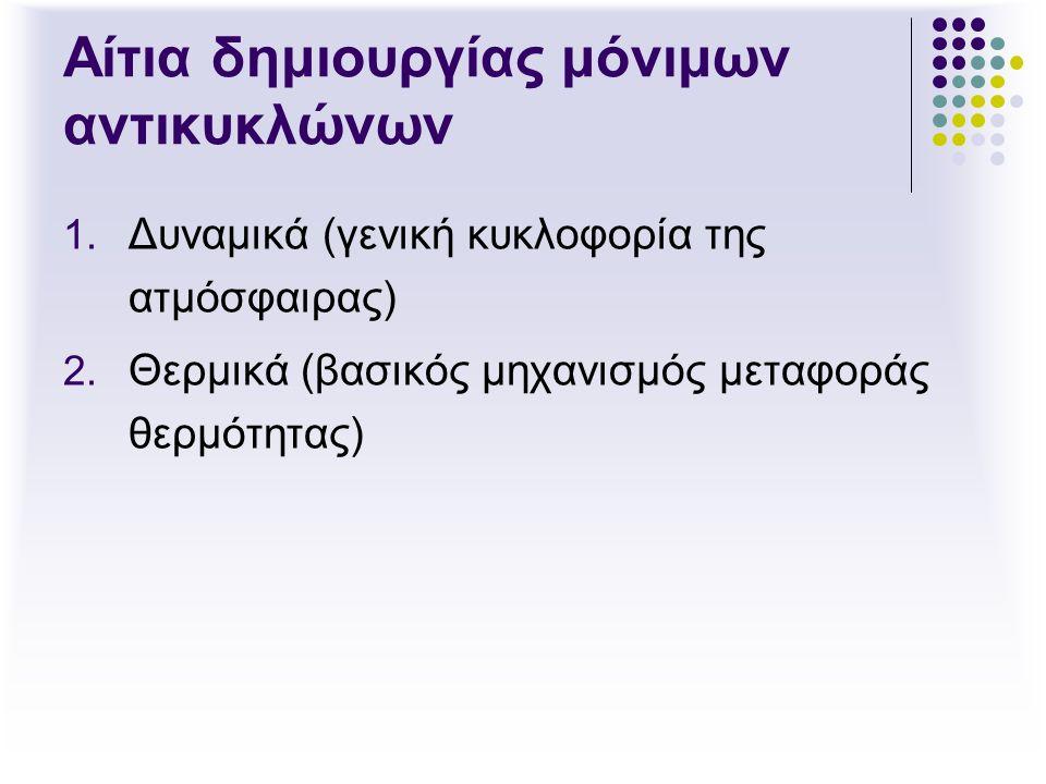 Αίτια δημιουργίας μόνιμων αντικυκλώνων 1. Δυναμικά (γενική κυκλοφορία της ατμόσφαιρας) 2. Θερμικά (βασικός μηχανισμός μεταφοράς θερμότητας)