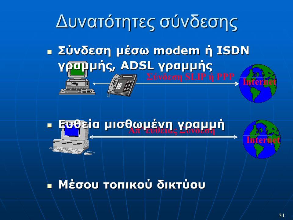 31 Internet Απ' ευθείας Σύνδεση Δυνατότητες σύνδεσης Internet Σύνδεση SLIP ή PPP Σύνδεση μέσω modem ή ISDN γραμμής, ADSL γραμμής Σύνδεση μέσω modem ή