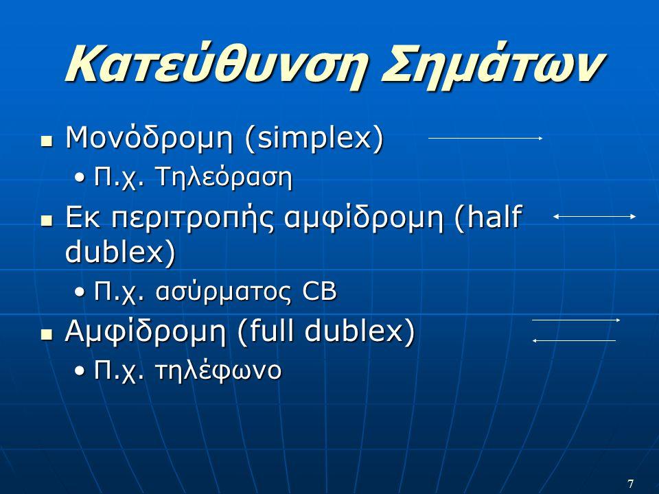 7 Κατεύθυνση Σημάτων Μονόδρομη (simplex) Μονόδρομη (simplex) Π.χ. ΤηλεόρασηΠ.χ. Τηλεόραση Εκ περιτροπής αμφίδρομη (half dublex) Εκ περιτροπής αμφίδρομ