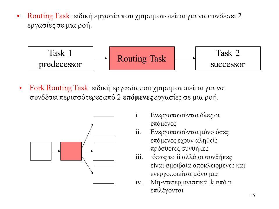 15 Routing Task: ειδική εργασία που χρησιμοποιείται για να συνδέσει 2 εργασίες σε μια ροή.