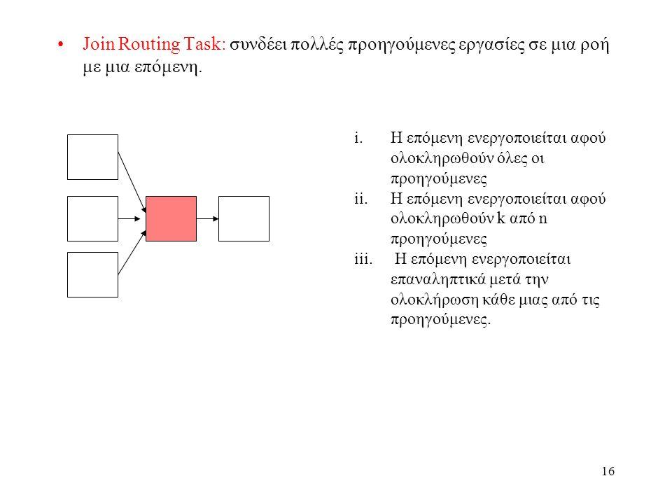 16 Join Routing Task: συνδέει πολλές προηγούμενες εργασίες σε μια ροή με μια επόμενη.