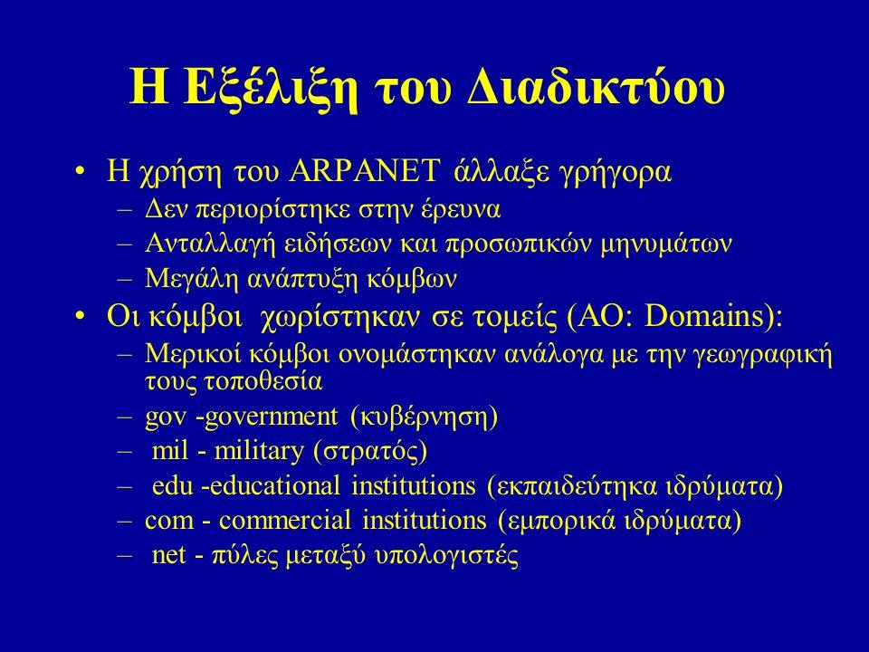 Η Εξέλιξη του Διαδικτύου Η χρήση του ARPANET άλλαξε γρήγορα –Δεν περιορίστηκε στην έρευνα –Ανταλλαγή ειδήσεων και προσωπικών μηνυμάτων –Μεγάλη ανάπτυξη κόμβων Οι κόμβοι χωρίστηκαν σε τομείς (AO: Domains): –Μερικοί κόμβοι ονομάστηκαν ανάλογα με την γεωγραφική τους τοποθεσία –gov -government (κυβέρνηση) – mil - military (στρατός) – edu -educational institutions (εκπαιδεύτηκα ιδρύματα) –com - commercial institutions (εμπορικά ιδρύματα) – net - πύλες μεταξύ υπολογιστές