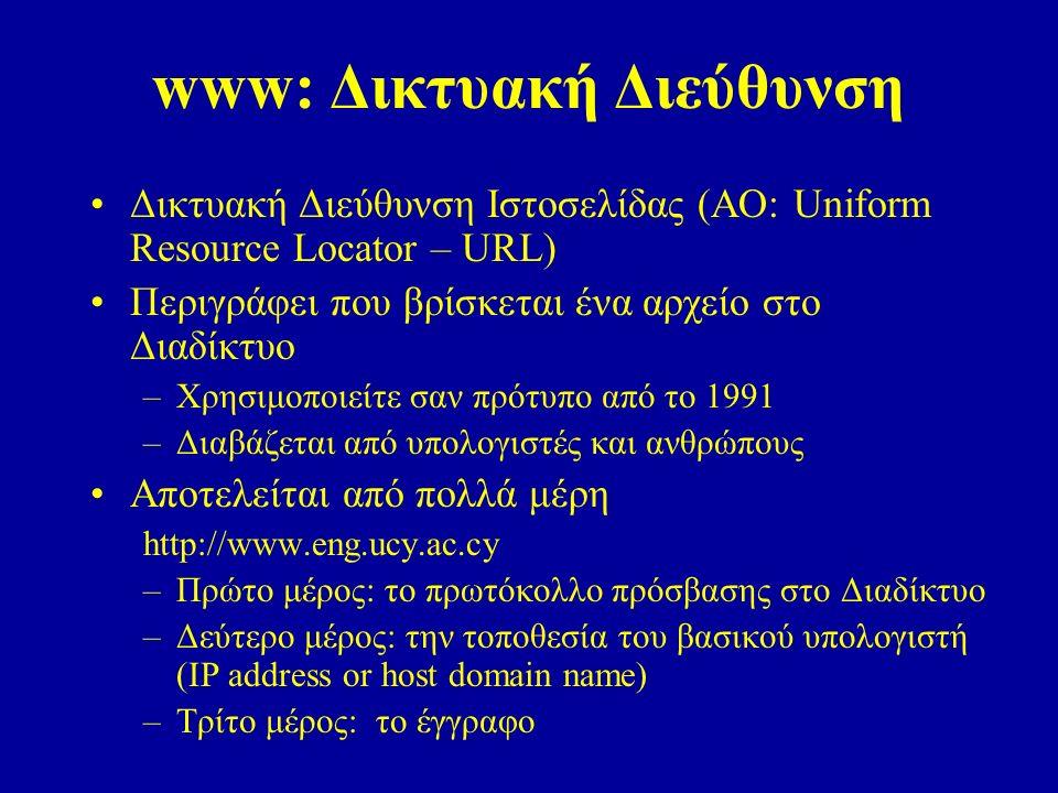 www: Δικτυακή Διεύθυνση Δικτυακή Διεύθυνση Ιστοσελίδας (AO: Uniform Resource Locator – URL) Περιγράφει που βρίσκεται ένα αρχείο στο Διαδίκτυο –Χρησιμοποιείτε σαν πρότυπο από το 1991 –Διαβάζεται από υπολογιστές και ανθρώπους Αποτελείται από πολλά μέρη http://www.eng.ucy.ac.cy –Πρώτο μέρος: το πρωτόκολλο πρόσβασης στο Διαδίκτυο –Δεύτερο μέρος: την τοποθεσία του βασικού υπολογιστή (IP address or host domain name) –Τρίτο μέρος: το έγγραφο