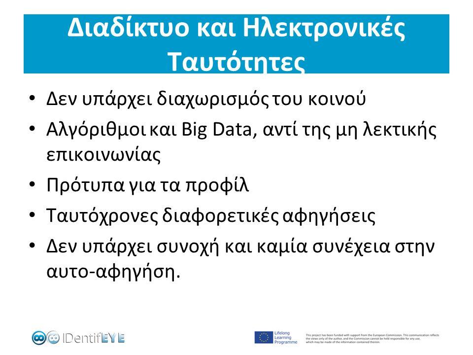 Διαδίκτυο και Ηλεκτρονικές Ταυτότητες Δεν υπάρχει διαχωρισμός του κοινού Αλγόριθμοι και Big Data, αντί της μη λεκτικής επικοινωνίας Πρότυπα για τα προφίλ Ταυτόχρονες διαφορετικές αφηγήσεις Δεν υπάρχει συνοχή και καμία συνέχεια στην αυτο-αφηγήση.