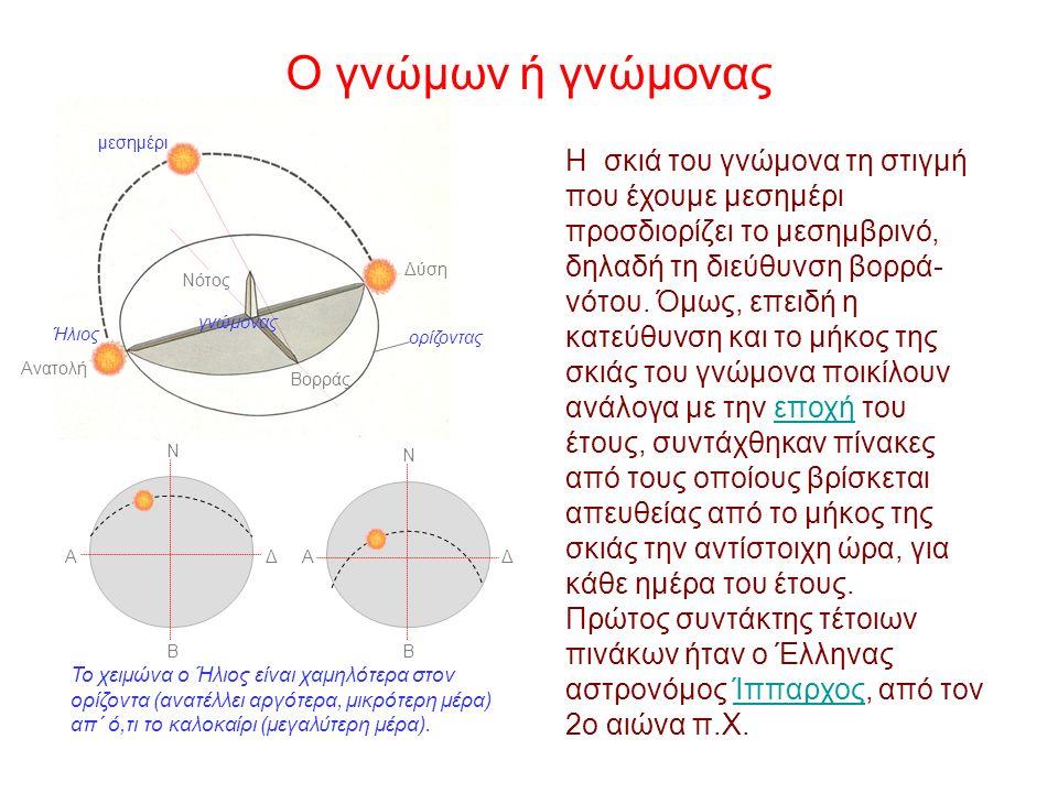 Ο γνώμονας είναι ένα ηλιακό ρολόι που στηρίζεται σε ένα κατακόρυφο στύλο στερεωμένο σε οριζόντιο έδαφος.