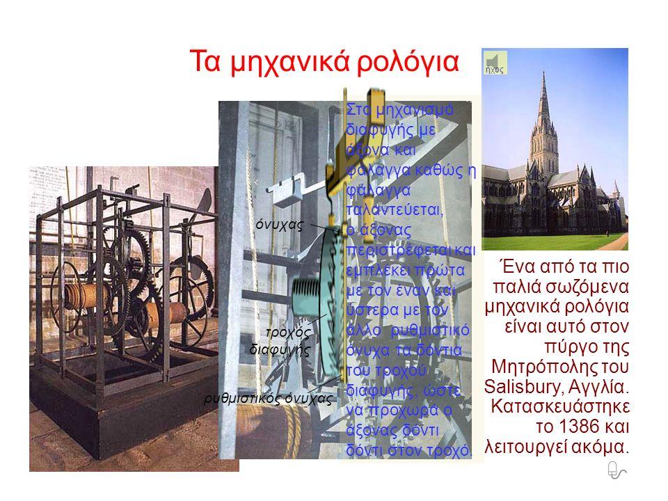 φάλαγγα άξονας τροχός διαφυγής) βαρίδι τύμπανο σκοινί αντίβαρου ασφαλιστικός όνυχας Τα μηχανικά ρολόγια Τα μηχανικά ρολόγια επινοήθηκαν στη Δυτική Ευρώπη τον 13ο αιώνα μ.Χ.