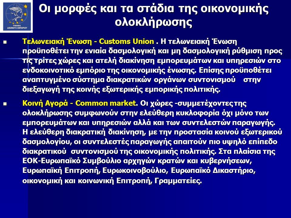 Οι μορφές και τα στάδια της οικονομικής ολοκλήρωσης Τελωνειακή Ένωση - Customs Union. Η τελωνειακή Ένωση προϋποθέτει την ενιαία δασμολογική και μη δασ