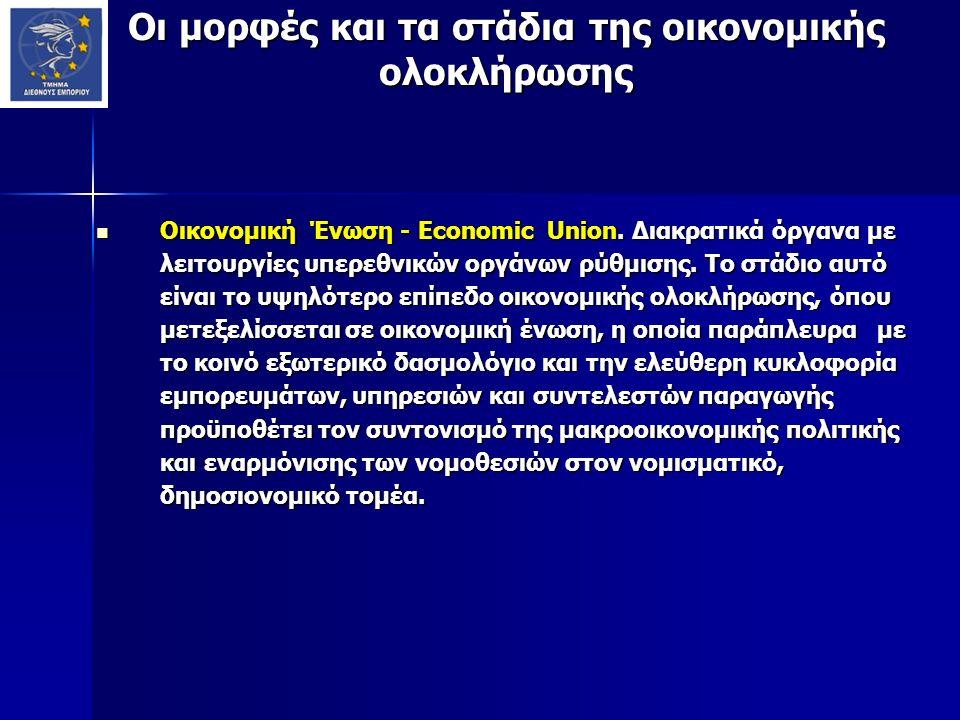Οι μορφές και τα στάδια της οικονομικής ολοκλήρωσης Οικονομική Ένωση - Economic Union. Διακρατικά όργανα με λειτουργίες υπερεθνικών οργάνων ρύθμισης.
