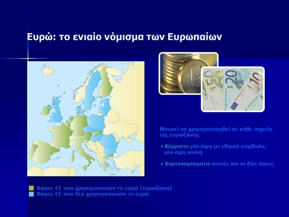 Ευρώ: το ενιαίο νόμισμα των Ευρωπαίων Χώρες ΕΕ που χρησιμοποιούν το ευρώ (ευρωζώνη) Χώρες ΕΕ που δεν χρησιμοποιούν το ευρώ Μπορεί να χρησιμοποιηθεί σε κάθε σημείο της ευρωζώνης  Κέρματα: μία όψη με εθνικά σύμβολα, μία όψη κοινή  Χαρτονομίσματα: κοινές και οι δύο όψεις