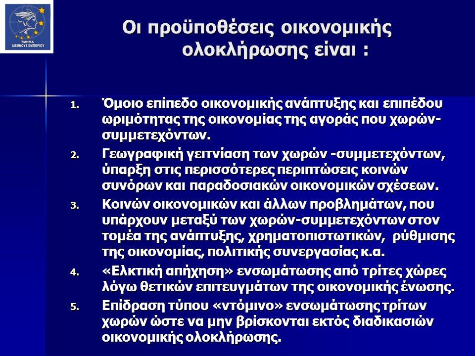 Οι προϋποθέσεις οικονομικής ολοκλήρωσης είναι : Οι προϋποθέσεις οικονομικής ολοκλήρωσης είναι : 1. Όμοιο επίπεδο οικονομικής ανάπτυξης και επιπέδου ωρ