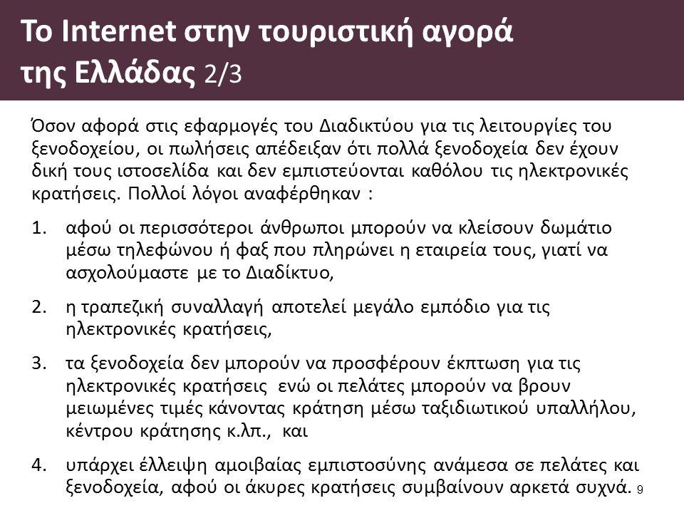 Το Ιnternet στην τουριστική αγορά της Ελλάδας 2/3 Όσον αφορά στις εφαρμογές του Διαδικτύου για τις λειτουργίες του ξενοδοχείου, οι πωλήσεις απέδειξαν ότι πολλά ξενοδοχεία δεν έχουν δική τους ιστοσελίδα και δεν εμπιστεύονται καθόλου τις ηλεκτρονικές κρατήσεις.