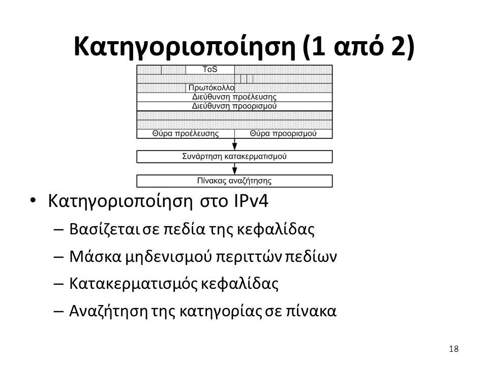 Κατηγοριοποίηση (1 από 2) Κατηγοριοποίηση στο IPv4 – Βασίζεται σε πεδία της κεφαλίδας – Μάσκα μηδενισμού περιττών πεδίων – Κατακερματισμός κεφαλίδας –