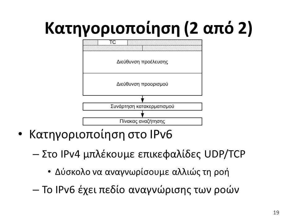 Κατηγοριοποίηση (2 από 2) Κατηγοριοποίηση στο IPv6 – Στο IPv4 μπλέκουμε επικεφαλίδες UDP/TCP Δύσκολο να αναγνωρίσουμε αλλιώς τη ροή – Το IPv6 έχει πεδ