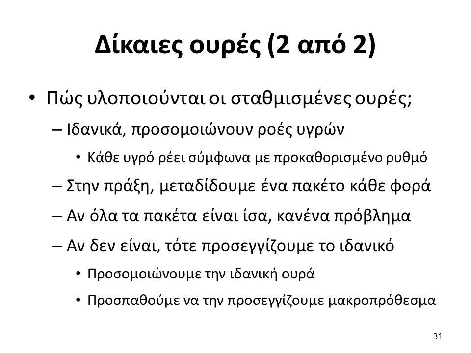 Δίκαιες ουρές (2 από 2) Πώς υλοποιούνται οι σταθμισμένες ουρές; – Ιδανικά, προσομοιώνουν ροές υγρών Κάθε υγρό ρέει σύμφωνα με προκαθορισμένο ρυθμό – Σ