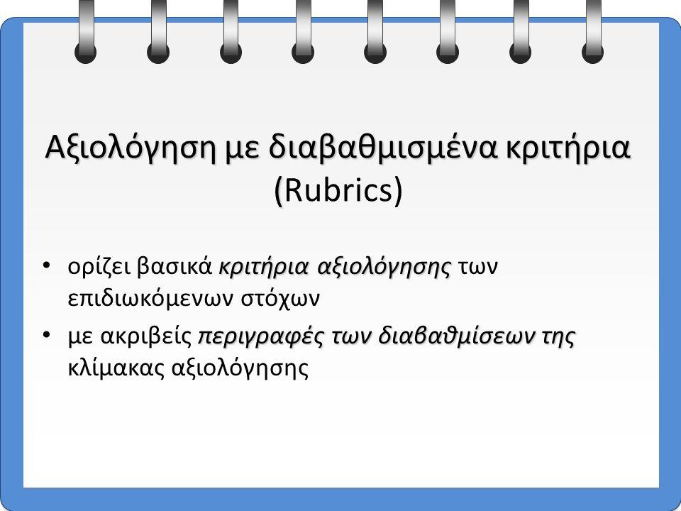 14 κριτήρια αξιολόγησης ορίζει βασικά κριτήρια αξιολόγησης των επιδιωκόμενων στόχων περιγραφές των διαβαθμίσεων της με ακριβείς περιγραφές των διαβαθμίσεων της κλίμακας αξιολόγησης Αξιολόγηση με διαβαθμισμένα κριτήρια ( Αξιολόγηση με διαβαθμισμένα κριτήρια (Rubrics)