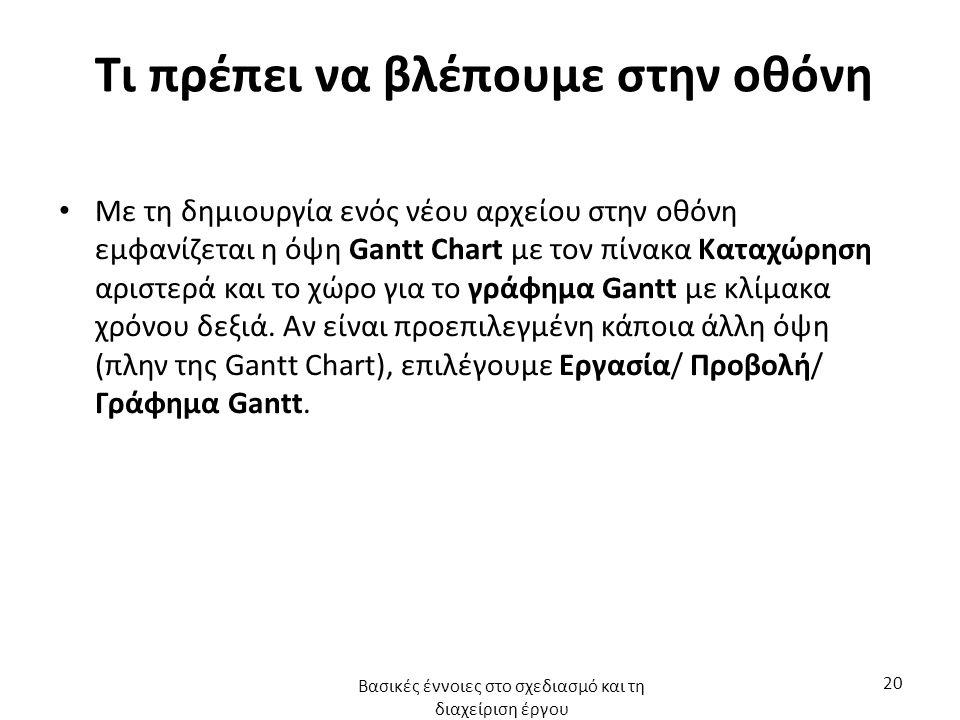 Τι πρέπει να βλέπουμε στην οθόνη Με τη δημιουργία ενός νέου αρχείου στην οθόνη εμφανίζεται η όψη Gantt Chart με τον πίνακα Καταχώρηση αριστερά και το χώρο για το γράφημα Gantt με κλίμακα χρόνου δεξιά.