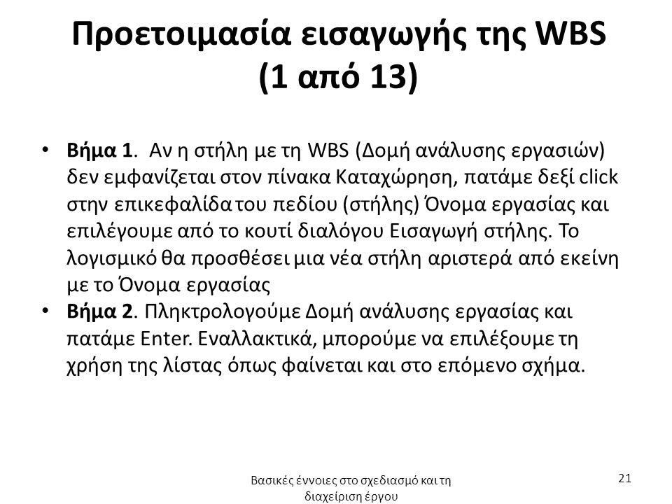 Προετοιμασία εισαγωγής της WBS (1 από 13) Βήμα 1. Αν η στήλη με τη WBS (Δομή ανάλυσης εργασιών) δεν εμφανίζεται στον πίνακα Καταχώρηση, πατάμε δεξί cl