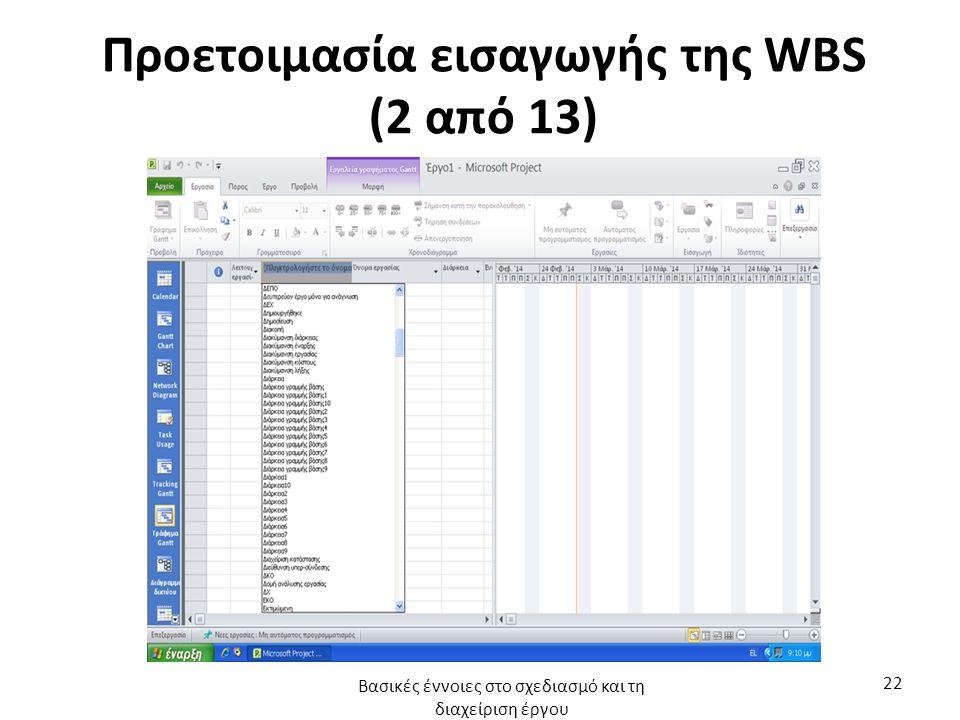 Προετοιμασία εισαγωγής της WBS (2 από 13) Βασικές έννοιες στο σχεδιασμό και τη διαχείριση έργου 22