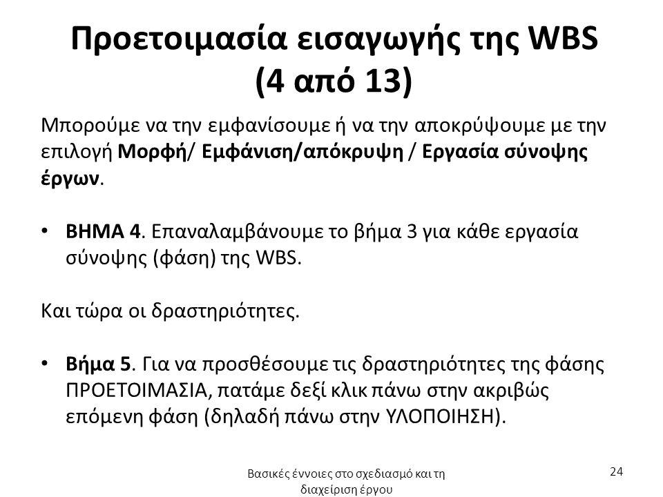 Προετοιμασία εισαγωγής της WBS (4 από 13) Μπορούμε να την εμφανίσουμε ή να την αποκρύψουμε με την επιλογή Μορφή/ Εμφάνιση/απόκρυψη / Εργασία σύνοψης έργων.