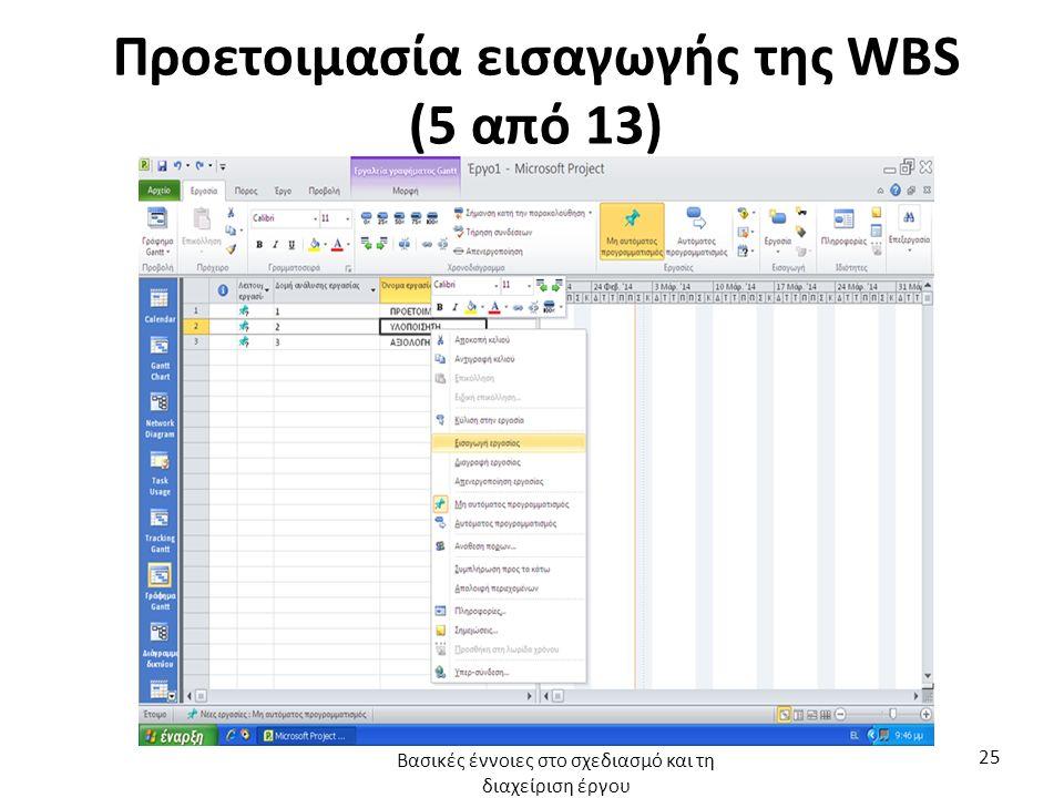Προετοιμασία εισαγωγής της WBS (5 από 13) Βασικές έννοιες στο σχεδιασμό και τη διαχείριση έργου 25