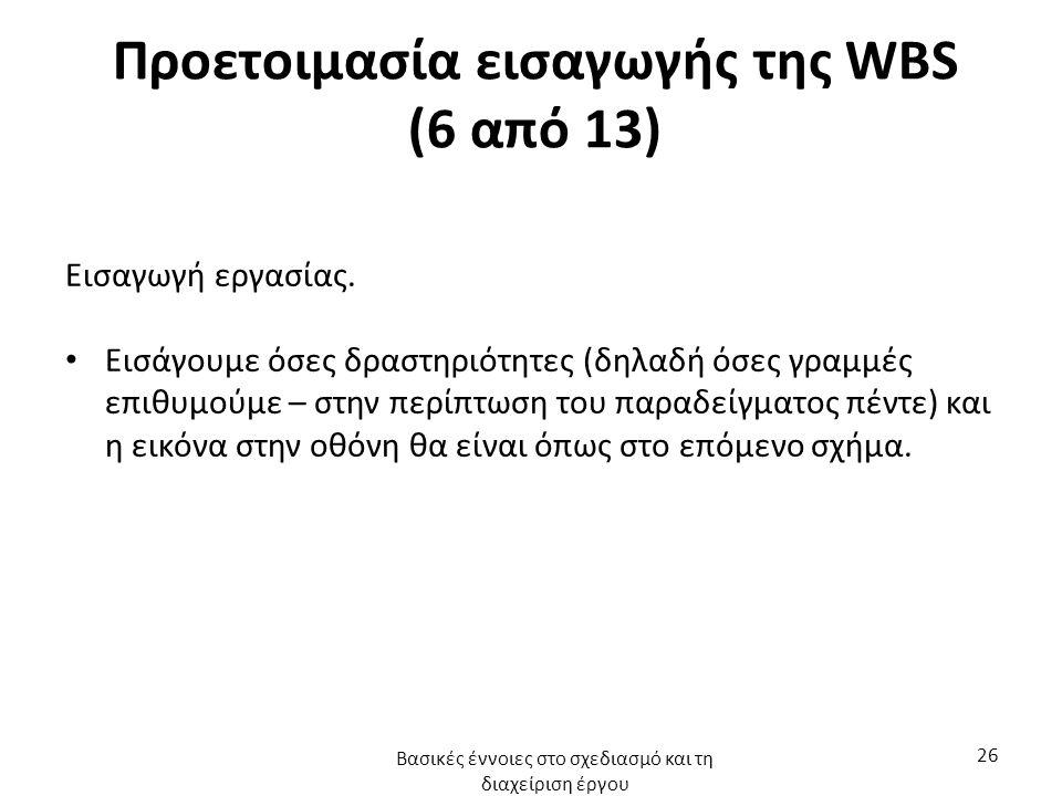 Προετοιμασία εισαγωγής της WBS (6 από 13) Εισαγωγή εργασίας. Εισάγουμε όσες δραστηριότητες (δηλαδή όσες γραμμές επιθυμούμε – στην περίπτωση του παραδε