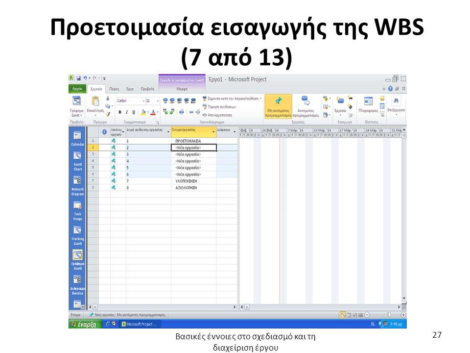 Προετοιμασία εισαγωγής της WBS (7 από 13) Βασικές έννοιες στο σχεδιασμό και τη διαχείριση έργου 27