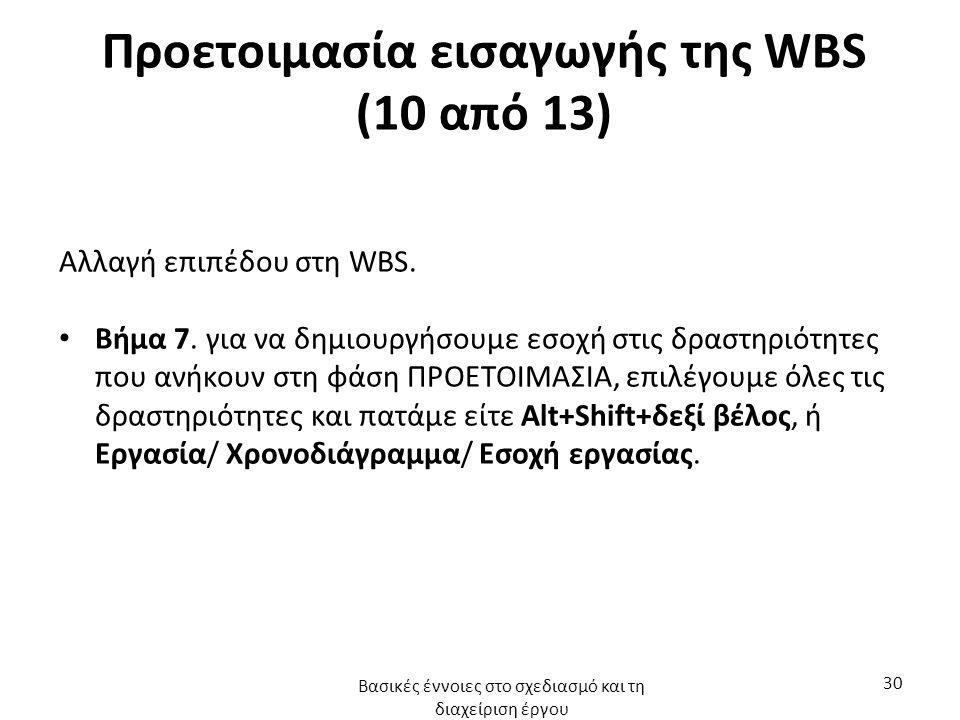 Προετοιμασία εισαγωγής της WBS (10 από 13) Αλλαγή επιπέδου στη WBS. Βήμα 7. για να δημιουργήσουμε εσοχή στις δραστηριότητες που ανήκουν στη φάση ΠΡΟΕΤ