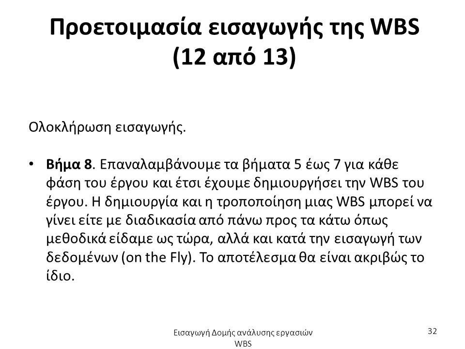 Προετοιμασία εισαγωγής της WBS (12 από 13) Ολοκλήρωση εισαγωγής.