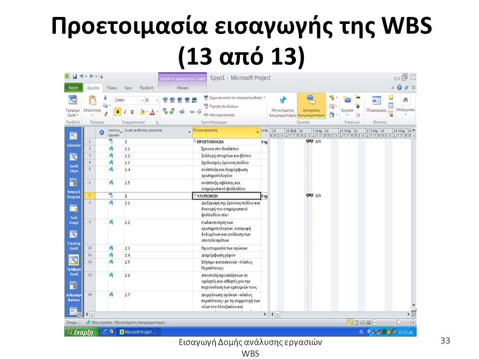 Προετοιμασία εισαγωγής της WBS (13 από 13) Εισαγωγή Δομής ανάλυσης εργασιών WBS 33